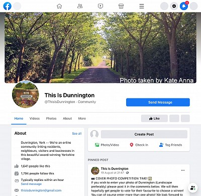 Screenshot of the This is Dunnington Facebook page